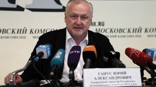 Yuri Ganus, director de la agencia antidopaje rusa, durante una rueda...