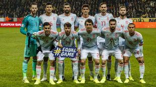 Once inicial de España en el partido ante Suecia.