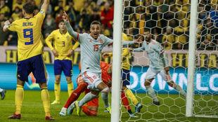 Rodrigo celebra el gol que daba el billete a la Eurocopa.