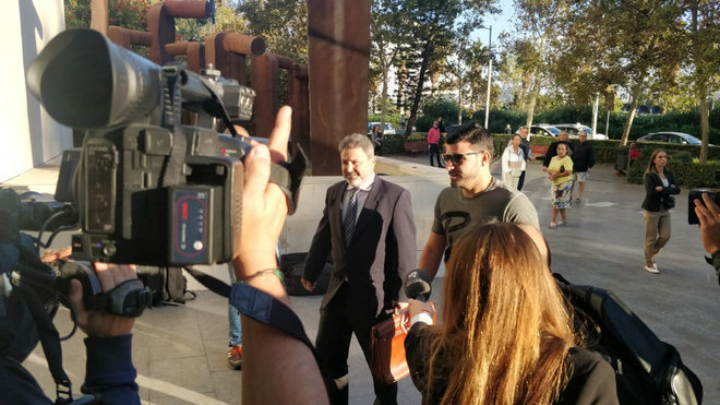 Braulio, a su llegada la ciudad de la justicia de Valencia.