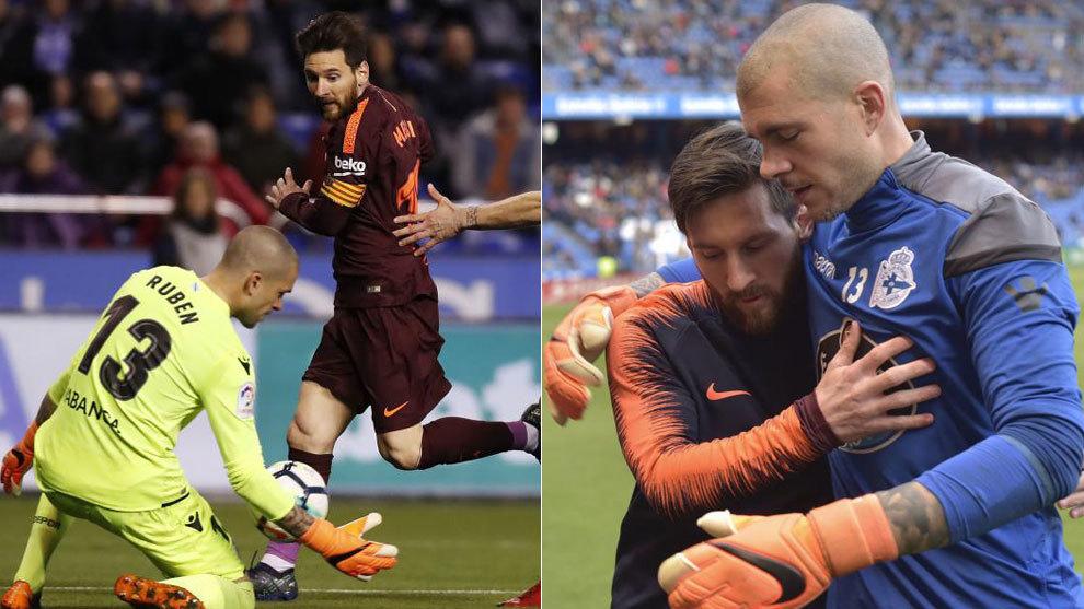 Messi y Rubén, en diferentes enfrentamientos entre Dépor y Barça