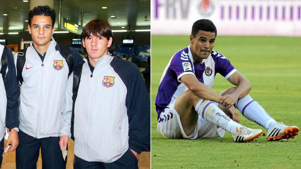 Carlos Peña, con Messi en un viaje con el primer equipo, y en su...
