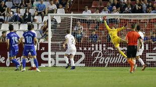 La acción de uno de los goles del Oviedo el pasado fin de semana.
