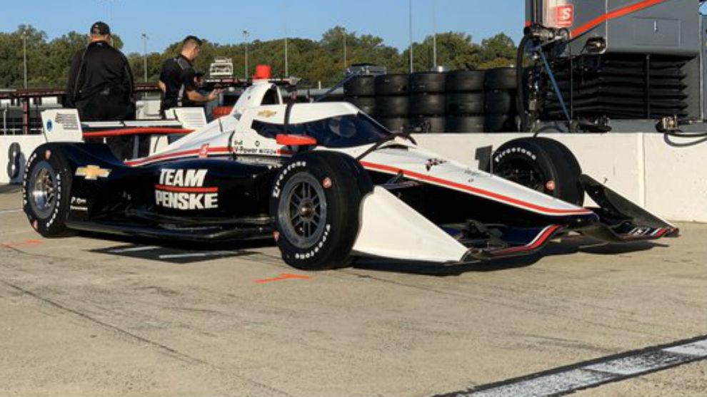 El Penske Chevrolet de Newgarden, en las pruebas de Richmond.