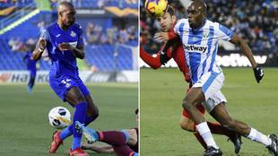 Nyom, actual jugador del Getafe (izqa.) y ex jugador del Leganés...