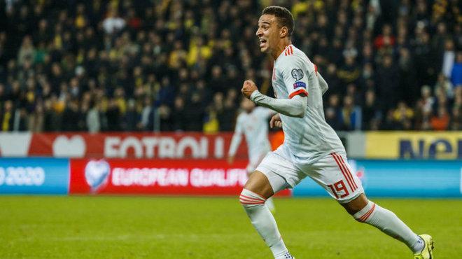 Rodrigo celebra el gol marcado con España tras jugar los últimos 25...