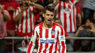 Morata celebra su gol al Getafe.