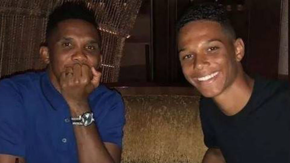 Samuel Eto'o alongside his son, Etienne.