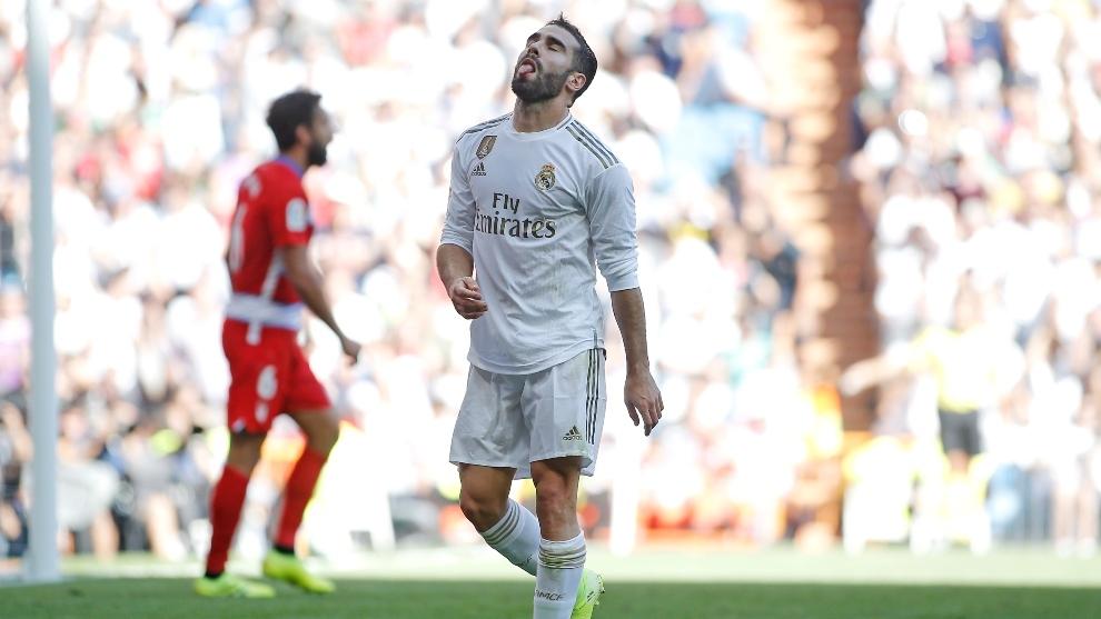 Carvajal, durante el partido ante el Mallorca.