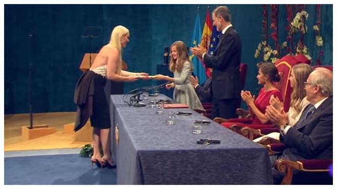 Lindsey Vonn, en el momento de recibir el Premio Princesa de Asturias