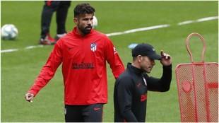 Simeon y Costa durante el entrenamiento en el Metropolitano