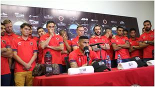 Jugadores de Veracruz en conferencia de prensa