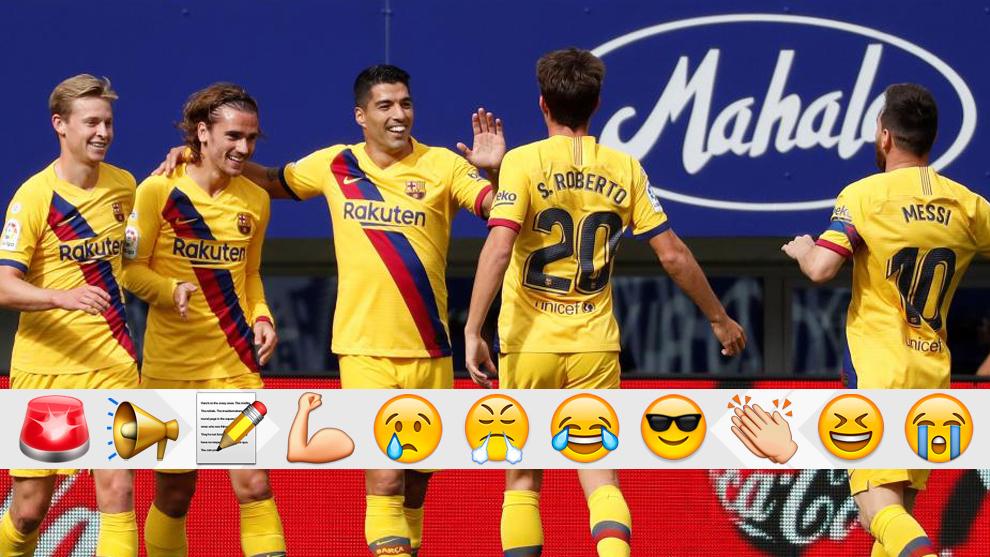 Los jugadores del Barça celebran el 1-0
