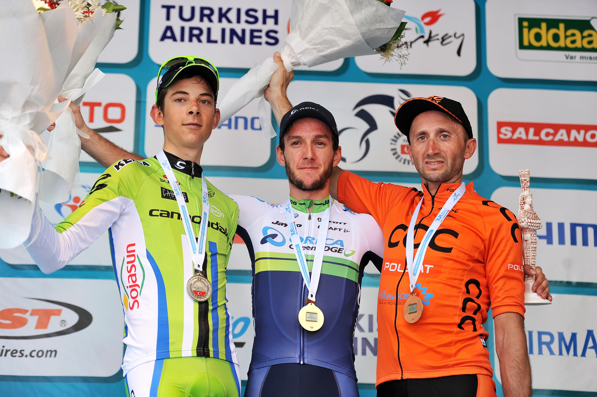 Podium v.l.n.r. - (2.) Davide FORMOLO ( ITA / Cannondale ) - (1.) Adam YATES ( GBR / Orica GreenEDGE ) - (3.) Davide <HIT>REBELLIN</HIT> ( ITA / CCC Polsat ) - Siegerehrung - Jubel - Freude - Emotionen - Querformat - quer - horizontal - Event/Veranstaltung: Tour of Turkey 2014 - Stage 6/6.Etappe: Bodrum nach Selcuk 183.0 km - Location/Ort: Turkey - Türkei - Asien - Asia - Date/Datum: 02.05.2014