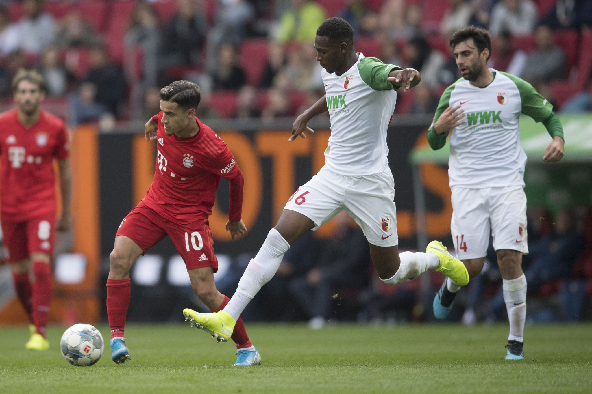 Augsburg (Germany), 19/10/2019.- <HIT>Bayern</HIT>s Philippe Coutinho (L) and Augsburgs Reece Oxford (R) during the German Bundesliga soccer match between FC Augsburg and FC <HIT>Bayern</HIT> Munich in Augsburg, Germany, 19 October 2019. (Alemania) EFE/EPA/ANDREAS SCHAAD CONDITIONS - ATTENTION: The DFL regulations prohibit any use of photographs as image sequences and/or quasi-video