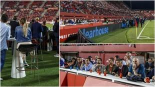 La zona VIP del estadio de Son Moix, ante el Real Madrid.