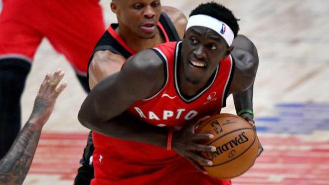 Pascal Siakam en un partido de pretemporada con los Raptors
