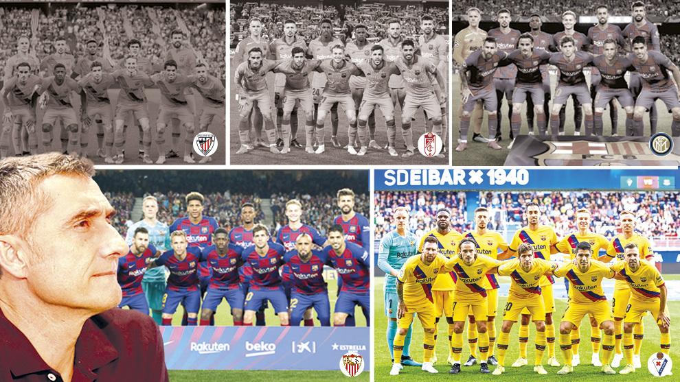Los onces del Barça contra Athletic, Granada, Inter, Sevilla y Eibar