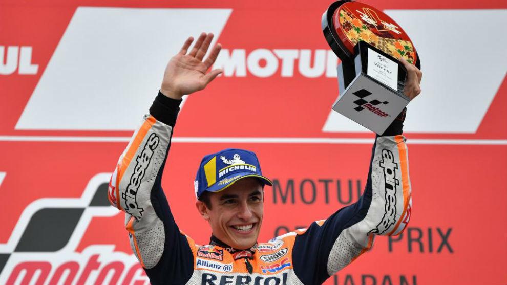 Márquez, celebrando su décima victoria en Japón.