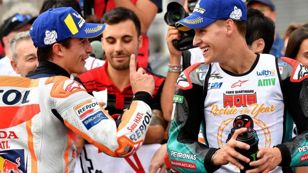 Márquez y Quartararo, tras acabar el Gran Premio de Japón.