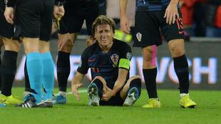 Modric, tras lesionarse con Croacia la pasada semana.