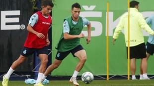 Víctor Gómez, junto a Corchia, en una sesión de entrenamiento.