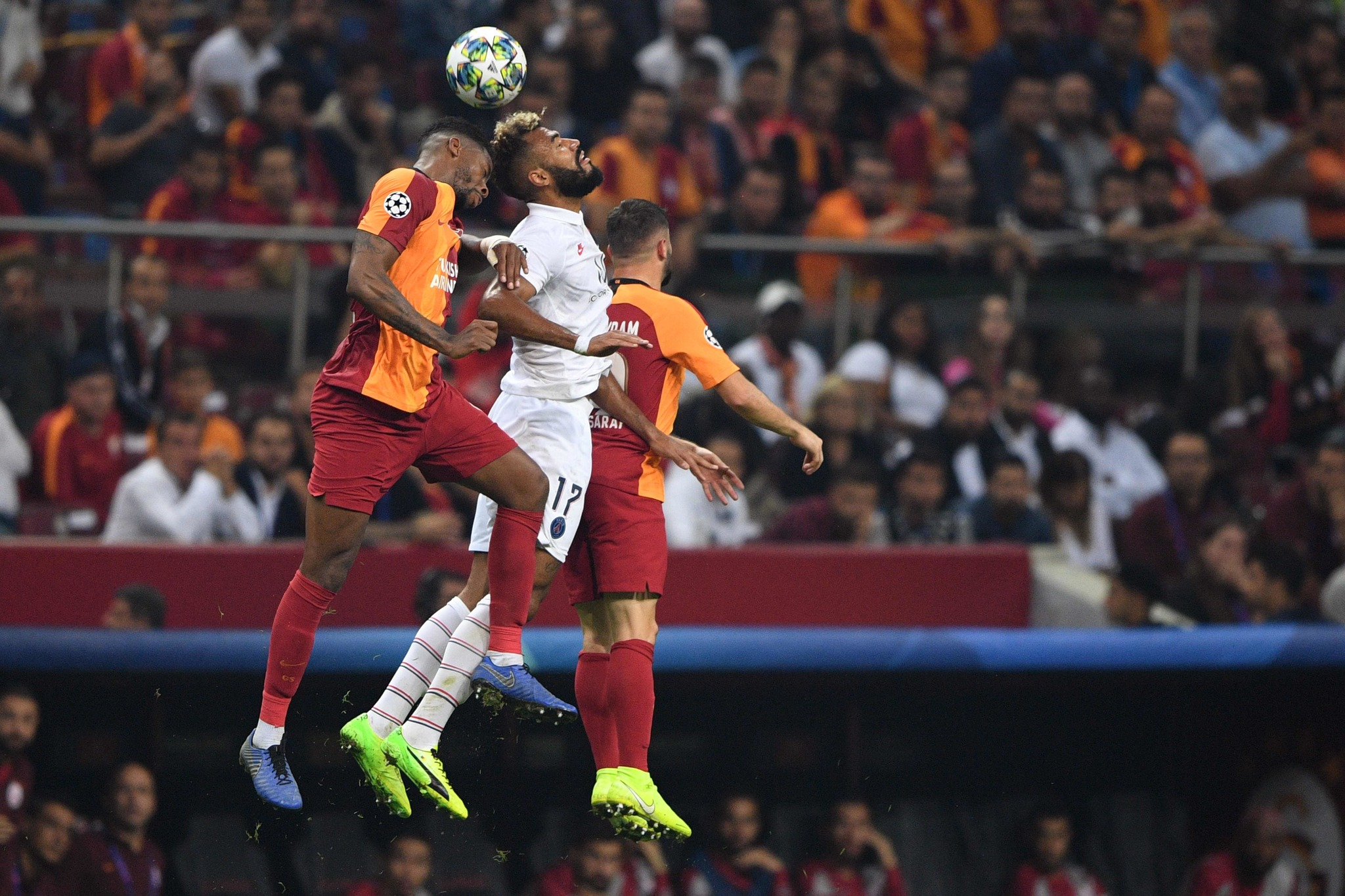 Galatasarays Brazilian defender <HIT>Marcao</HIT> Teixeira (L) vies with Paris Saint-Germains Cameroon forward Eric Maxim Choupo Moting (C) during the UEFA Champions League football match between Galatasaray and Paris Saint-Germain (PSG), on October 01, 2019 at <HIT>Ali</HIT><HIT>Sami</HIT><HIT>Yen</HIT> Spor Kompleksi in Istanbul. (Photo by Bulent Kilic / AFP)