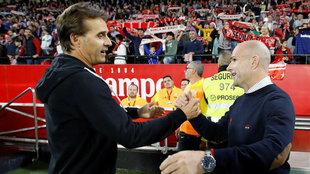 Los técnicos del Sevilla, Julen Lopetegui  y del Levante, Paco...