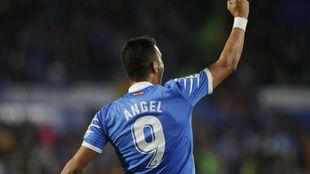 Ángel celebra un gol ante el Leganés