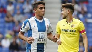 Víctor Gómez, durante el encuentro contra el Villarreal.