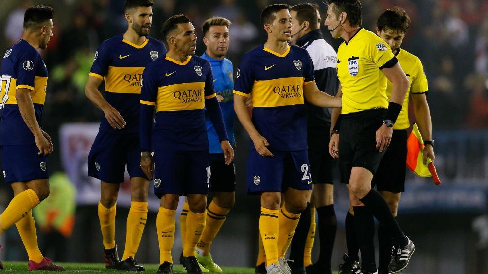 Los jugadores de Boca, en el partido de ida.