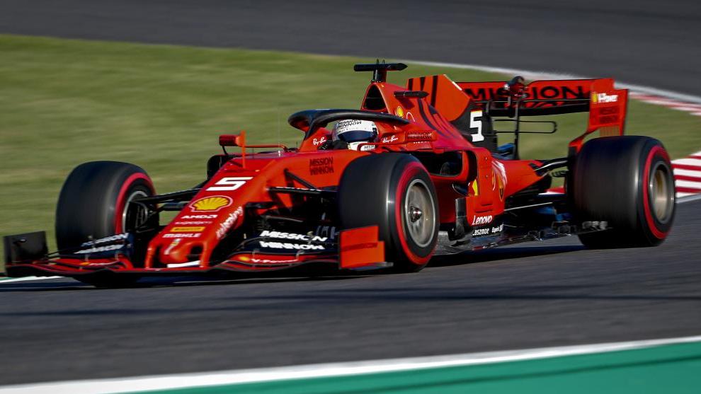 El Ferrari de Vettel, en Suzuka.