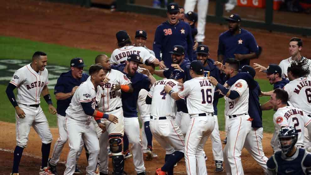 Astros de Hosuton festejan el título de la Liga Americana