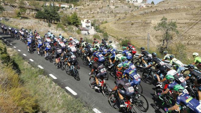 El pelotón, en la Vuelta a España de 2019.