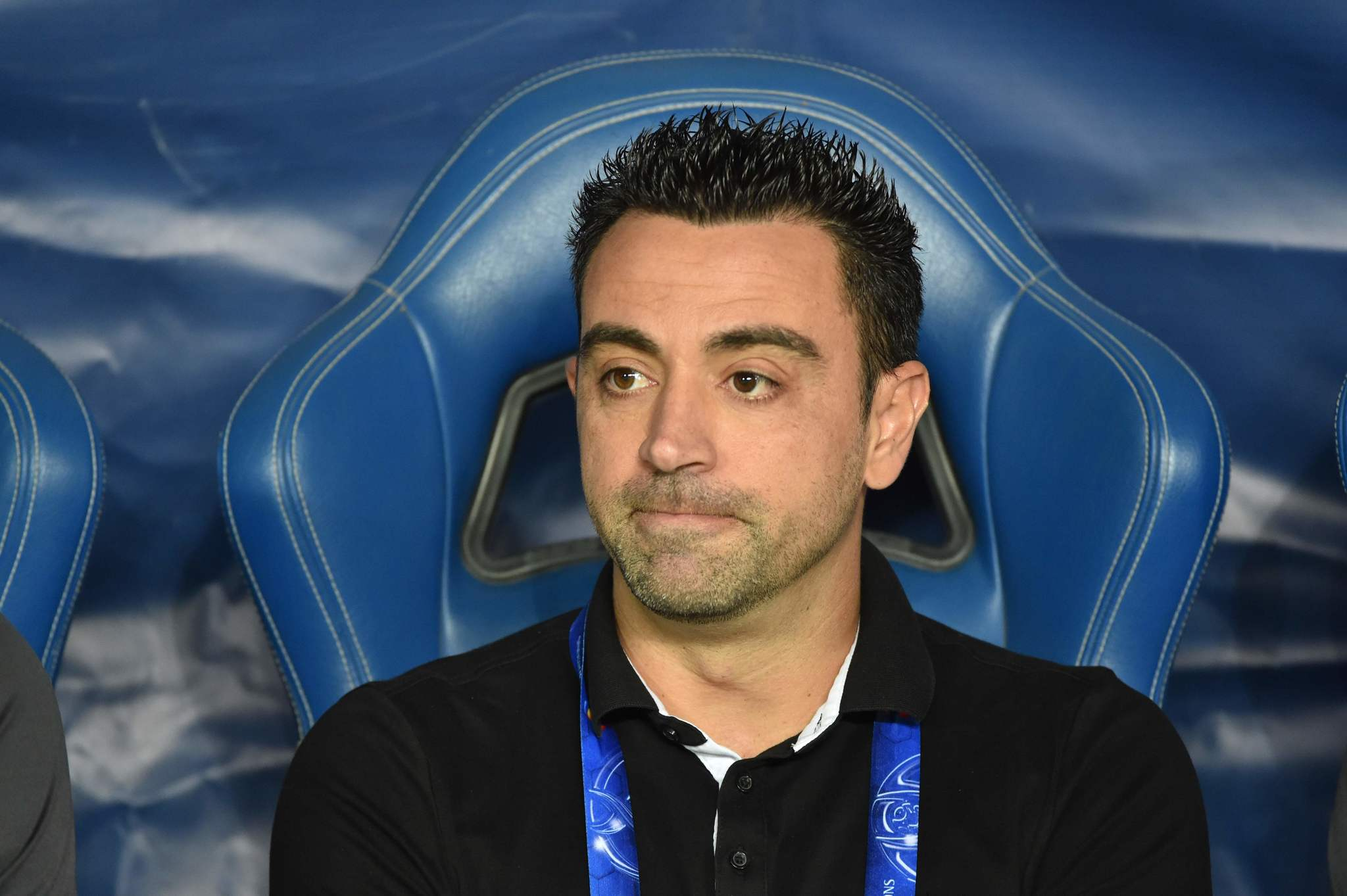 Al Sadds Spanish coach <HIT>Xavi</HIT><HIT>Hernandez</HIT> watches the second leg of the AFC Champions League semi-finals football match between Qatars Al Sadd and Saudi Al Hilal in Riyadh on October 22, 2019. (Photo by Fayez Nureldine / AFP)