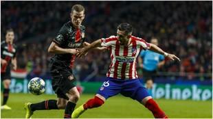 Herrera durante el partido contra el Leverkusen