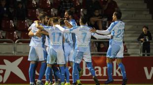 Jugadores del Lugo celebrando un gol ante el Mirandés