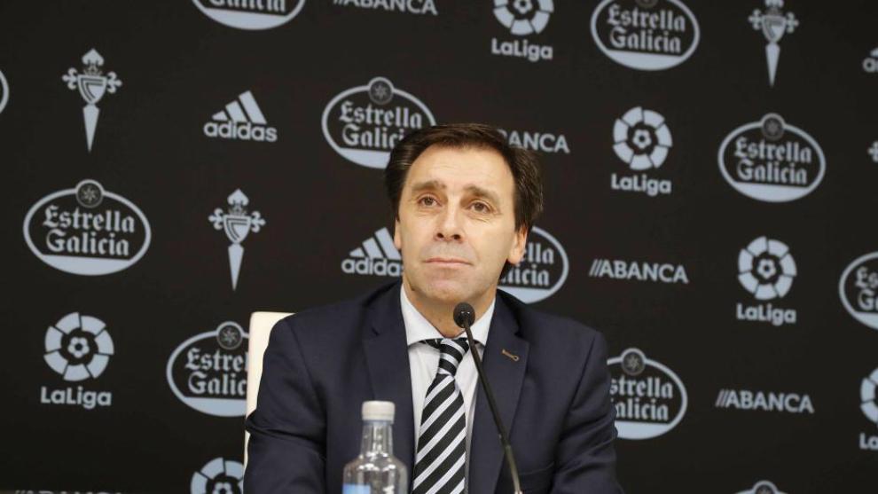 El director deportivo del Celta, Felipe Miñambres, en una rueda de...