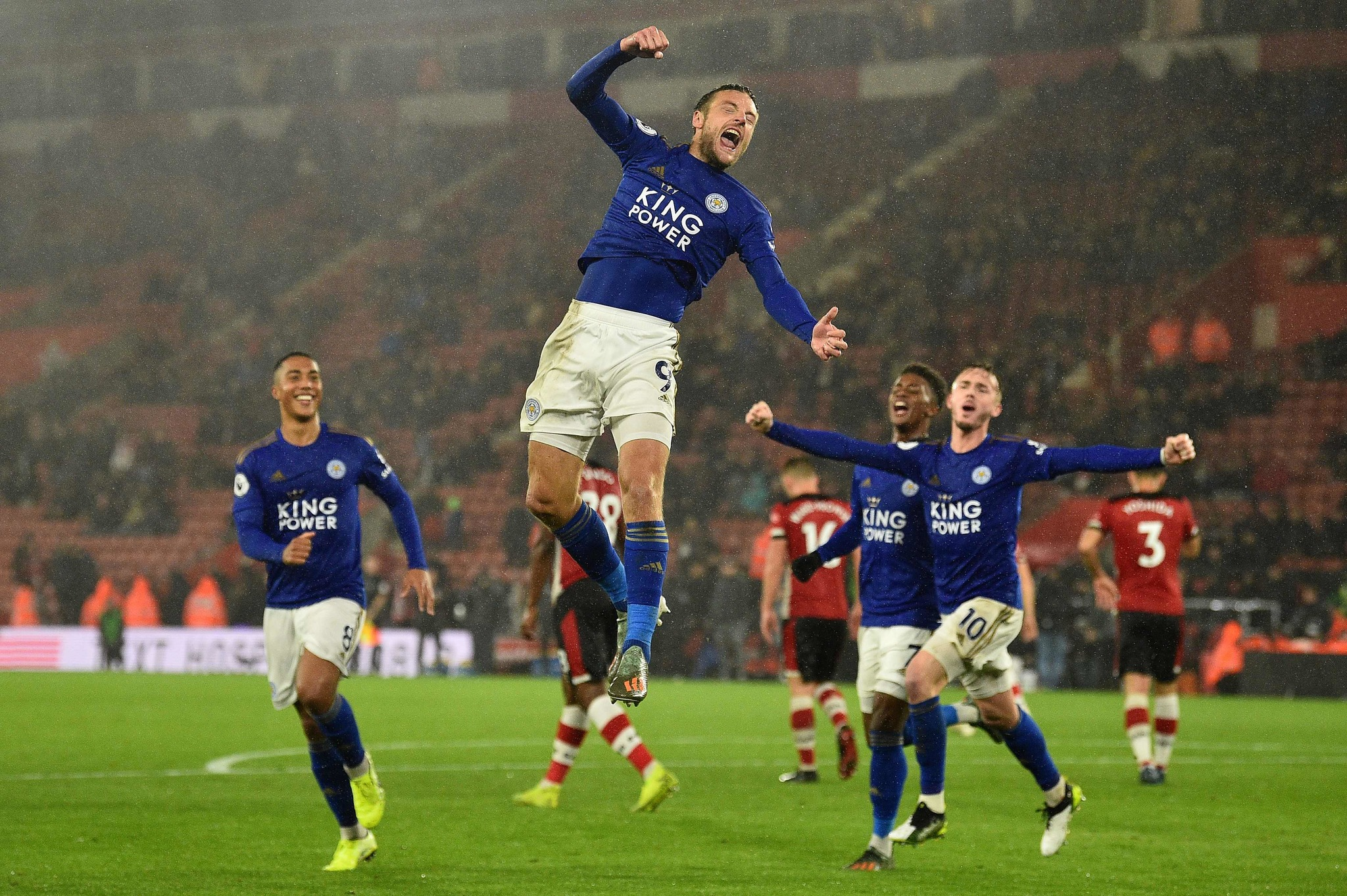 <HIT>Leicester</HIT> Citys English striker Jamie Vardy celebrates scoring his teams ninth goal from the penalty spot during the English Premier League football match between Southampton and <HIT>Leicester</HIT> City at St Marys Stadium in Southampton, southern England on October 25, 2019. - <HIT>Leicester</HIT> won 9-0. (Photo by Glyn KIRK / AFP) / RESTRICTED TO EDITORIAL USE. No use with unauthorized audio, video, data, fixture lists, club/league logos or live services. Online in-match use limited to 120 images. An additional 40 images may be used in extra time. No video emulation. Social media in-match use limited to 120 images. An additional 40 images may be used in extra time. No use in betting publications, games or single club/league/player publications. /