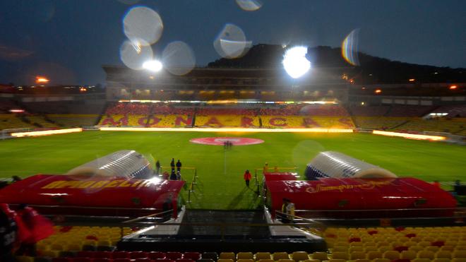 El Estadio Morelos afectado por lluvia.