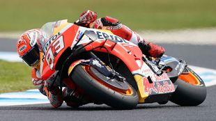 Márquez, en los libres 4 del Gran Premio de Australia.