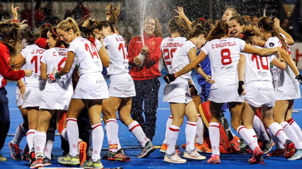 Las 'Redsticks', celebrando el primer tanto español ante Corea del...