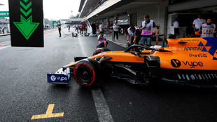 Carlos Sainz, durante la calificación de hoy