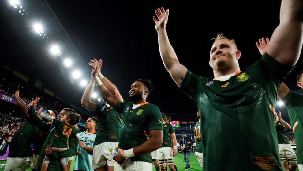 Alun Wyn Jones Sudáfrica celebra el triunfo en semifinales ante Gales
