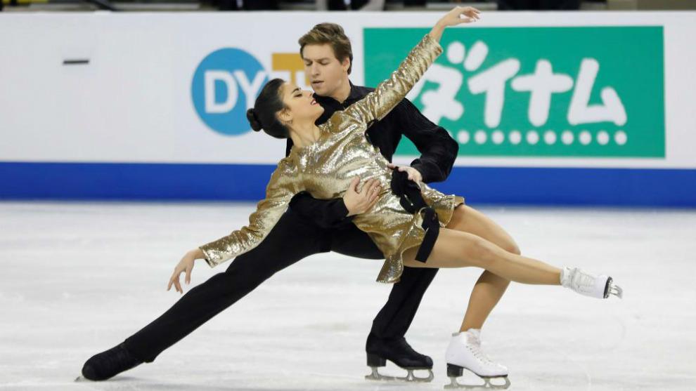 Hurtado y Jalyavin, durante la danza rítmica