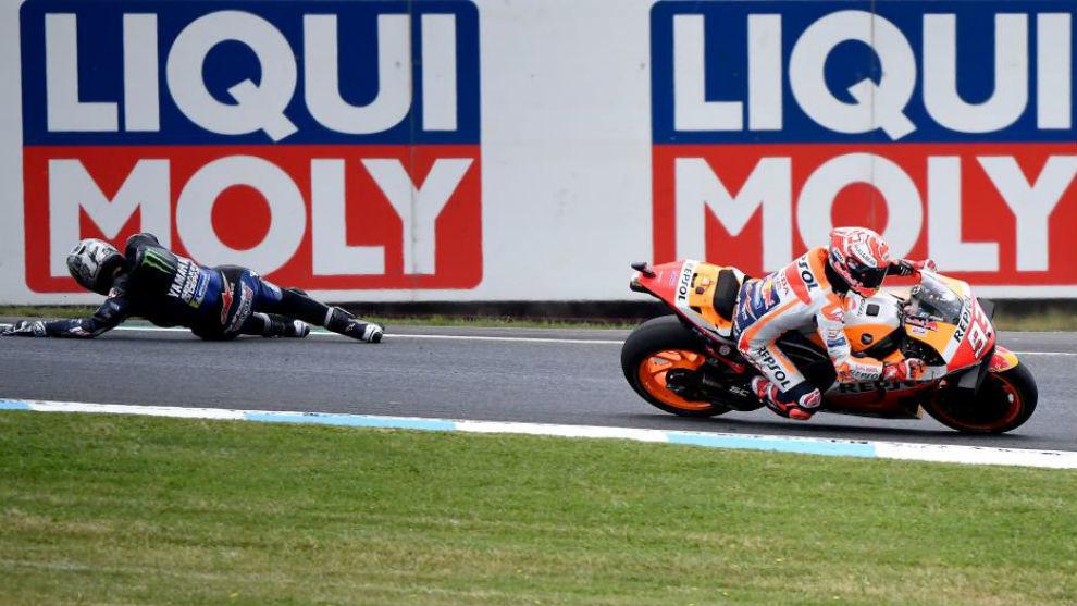 Viñales por los suelos en su duelo directo con Márquez.
