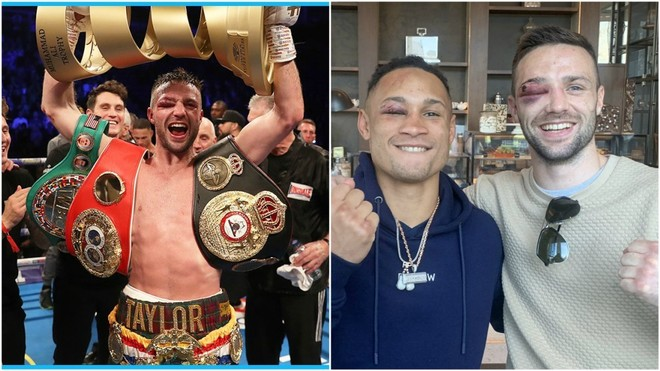 Josh Taylor tras ganar y junto a Regis Prograis tras la pelea.