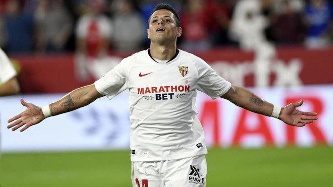 Chicharito celebra su gol al Getafe.