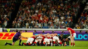 Momento del encuentro entre Gales y Sudáfrica