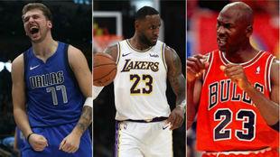 Luka Doncic, LeBron James y Michael Jordan, tres de los que más han...